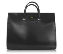 Klassische polierte Damen-Aktentasche aus schwarzem Leder