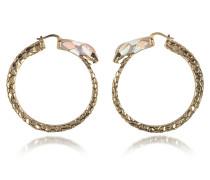 Hoop Ohrringe mit Schlange aus goldfarbenem Metall und bunter Emaille