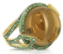 18k Gold - Fedora Ring mit Quarz