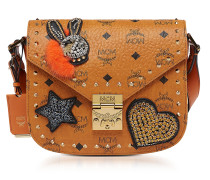 Cognac Patricia Embellished Visetos Small Shoulder Bag