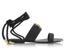 Black Leather Ankle Wrap Sandals