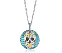 Totenkopf Halskette aus rhodiumbeschichtetem Sterlingsilber