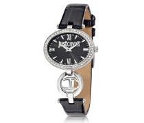Just Icon Damenuhr aus Edelstahl in schwarz mit krokogeprägtem Lacklederarmband