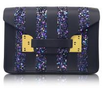 Black Milner Saddle Leather & Navy Glitter Nano Envelope Bag
