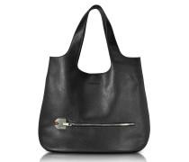 Amelia Black Leather Slim Tote Bag