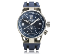 Montecristo Blue Stainless Steela & Titanium Dual Time Men's Watch
