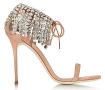 High Heel Sandale aus Wildleder in nude mit Kristallen
