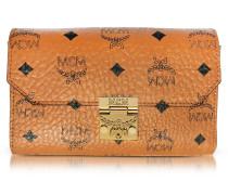 Millie Visetos Cognac Coated Canvas Medium Flap Crossbody