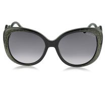 Mintaka 911S 05B Damen-Sonnenbrille aus Acetat in schwarz & Glitzergold