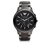 Black Ceramic & Stainless Steel Men's Watch