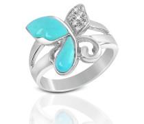 Ring aus 18k Gold mit Schmetterling aus Edelsteinen und Diamant