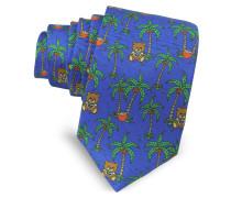 Blue Palms and Teddy Bears Narrow Krawatte aus Twillseide