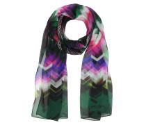 Langer Schal aus Seide in pink und grün mit Zickzackmuster