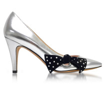 Silver Laminated Leather Daryl Pointy Toe Pump