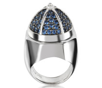 Ring aus beschichtetem Sterlingsilber mit blauen Zirkoniasteinen