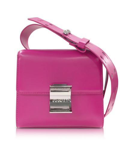 Kleine Schultertasche aus Leder in pink