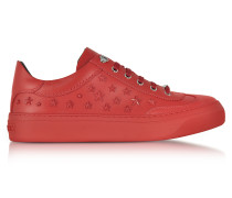 Ace Sport Deep Red Leather Low Top Sneakers w/Mixed Stars