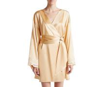 Maison Short Robe aus Satin-Seide in beige