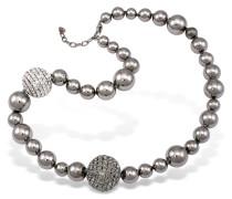 Halskette mit hochglanz polierten Kugeln und Swarovskisteinen