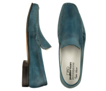 Handgearbeitete Lederhalbschuhe in petrolblau