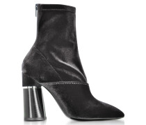 Kyoto Black Velvet Stretch High Heel Ankle Boots