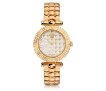 Micro Vanitas PVD Gold Plated Women's Watch w/Baroque White Dial