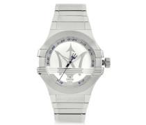 Potenza 3H Armbanduhr aus Edelstahl in Silber