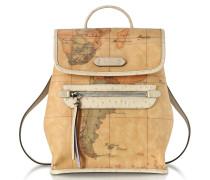 Australia Rucksack mit Geo Print aus Leder mit Straußenprint