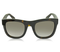 GG 1100/S H30HA rechteckige Sonnenbrille mit rot/grünem Netzdetail