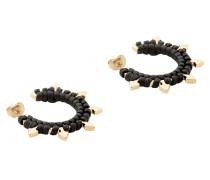 Brass and Woven Leather Mini Arrow Earrings