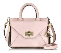 Pink Dust Shimmer Mini Secret Agent Umhängetasche aus echsengeprägtem Leder