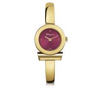Gancino Gold IP Damenuhr aus Edelstahl mit Zifferblatt in burgund