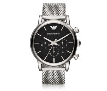 Stainless Steel Black Dial Men's Watch w/Mesh Band