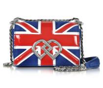 DD British Flag Mini Schultertasche aus Wildleder und Lackleder