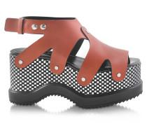 Wedge Sandale aus Nappa Leder mit optischem Print