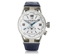 Montecristo Blue Stainless Steel & Titanium Dual Time Men's Watch w/Leather Strap