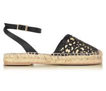 Tina Espadrilles Sandalen aus schwarzem Leder und Bast