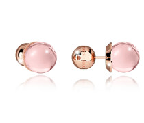 Boulevard Stone Rose Gold Over Bronze Stud Earrings w/Pink Hydrothermal Stone