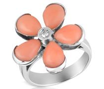 Ring aus 18k Gold  mit Blume aus Koralle in pink mit Diamant
