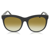 BA024 04F Cat Eye Sonnenbrille aus schwarzem Gummi & Acetat