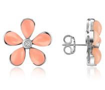 Ohrringe aus 18k Gold mit Blumen aus Edelsteinen und Diamanten