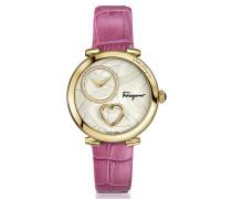 Cuore Ferragamo Gold IP Damenuhr aus Edelstahl und Herz mit krokogeprägtem Armband in pink