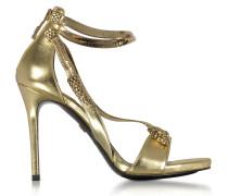 Golden Laminated Leather High Heel Snake Sandals