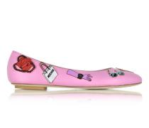 Ballerina aus Leder in pink mit Pins