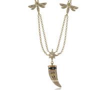 Double Lange Halskette in goldfarben aus Emialle mit Kristallen