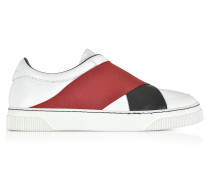 White Leather Slip on Sneaker w/Two Tone Elastic Band