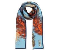 Feathers Print langer Schal aus Seide