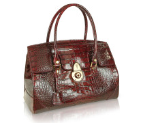 Rubinrote Handtasche aus Leder mit Krokodilprägung