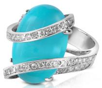 Ring aus 18k Gold mit Edelstein in türkisfarben mit Diamantenreihe