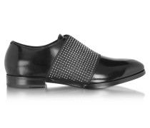 Peter Black Leather Loafer w/Elastic Studded Band
